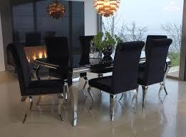 glass top dining table set 6 chairs buy vida living louis black glass top dining set 200cm with 6