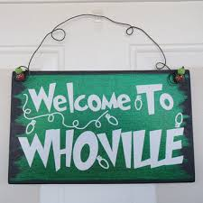 the grinch christmas decorations welcome to whoville hanging door sign from craftywitchesdecor on