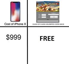 I Phone Memes - clash of clans hack iphone x price comparisons know your meme