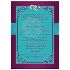 teal wedding invitations wedding invitation teal plum magenta floral printed ribbon