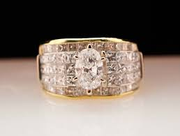 antique diamond engagement rings vintage diamond engagement ring 18k yellow gold wide band with