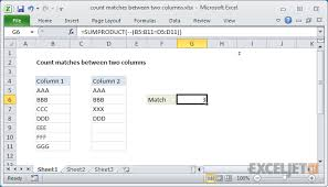 excel formula count total matches in two ranges exceljet