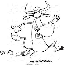 vector of a cartoon running cow coloring page outline by