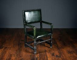 Dining Chairs French Green Leather High Back Arm Dining Chair