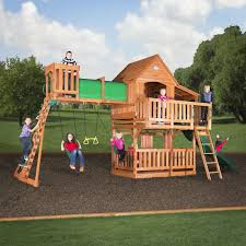 backyard discovery trek all cedar wood playset swing image with