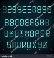 digital font alarm clock letters numbers stock illustration