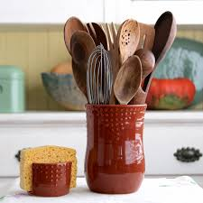 kitchen utensil canister kitchen utensil crock handmade utensil holder medium size