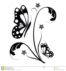 butterfly and floral scrolls stock illustration illustration of