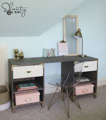 Diy File Cabinet Desk by Diy Cubby Storage Desk Shanty 2 Chic