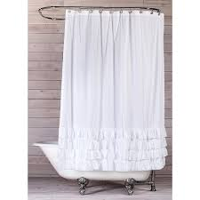 bathroom cotton ruffle shower curtain white ruffle shower