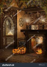 witchs cottage halloween pumpkins fireplace book stock