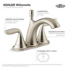 Brushed Nickel Bathroom Faucets by Kohler Willamette 4 In Centerset 2 Handle Water Saving Bathroom
