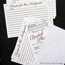 bridal card bridal shower recipe idea the country chic cottage
