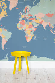 Map Wallpaper Navigator Kids World Map Wall Mural Pastel Colors Pastels And