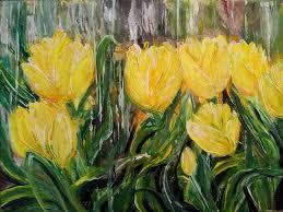 yellow tulips under rain 30x40 cm original acrylic flowers