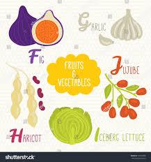 alphabet kids fruits vegetables letters f stock vector 178103588
