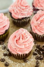 chocolate cupcakes with a strawberry mousse frosting the recipe