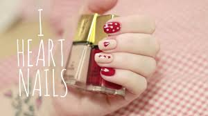 easy nail art tutorial beginners hearts u0026 polkadots youtube