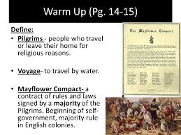 warm up pg define pilgrims people who travel or leave their