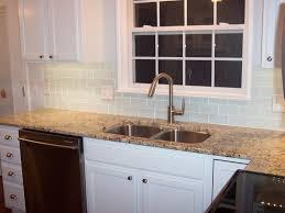interior stunning white subway tile backsplash on kitchen
