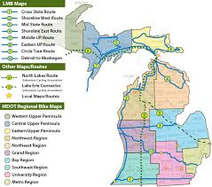 map of michigan michigan bicycle routes and maps
