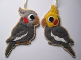 2 felt cockatiels bird ornaments by freaksoncanvas on etsy 25 00