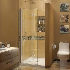 dreamline aqua fold 33 5 in width frameless hinged shower door
