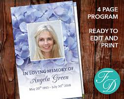 Funeral Program Printing Services Funeral Program Template Order Of Service Memorial Program
