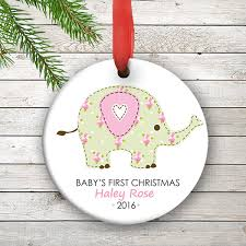 christmas personalized personalized baby s christmas ornament pink elephant