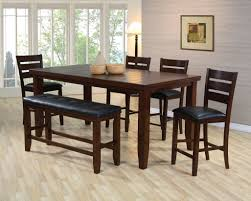 unique espresso counter high dining table w 4 chairs and bench