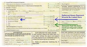 Bill Of Sale Form For Car by Failing To Properly Document Deferred Down Payments