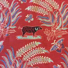 Home Decor Print Fabric Hd047 Red Animal Print Cotton Folk Art Upholstery Drapery Home