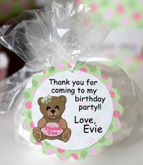 pink teddy bear baby shower favor tag or 1st birthday