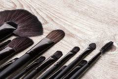 tools for makeup artists professional tools of makeup artist on shabby wooden surface stock