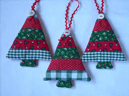fabric christmas ornaments traditional colors set of 3 red white