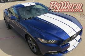 white mustang blue stripes 2015 17 mustang wide dual length stripes from big worm graphix