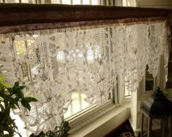 White Lace Window Valances Shabby French Rustic Chic Balloon Burlap Lace Kitchen Window
