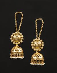 buy jhumka earrings online buy fabindia gold silver anusuya es 1848 kaan chain jhumka