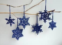 navy blue christmas decorations crochet snowflakes ornaments