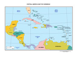 south america map with country names and capitals political map of central america and the caribbean nations at