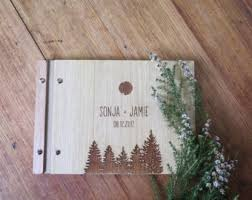 engraved wedding album eucalyptus wedding guest book australian wood wedding gift