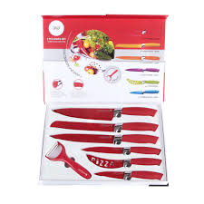 v seven piece knife set various colours red white u0026 blue