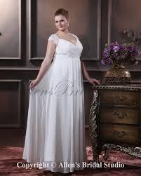 allens bridal v neck elegant chiffon satin floor length plus