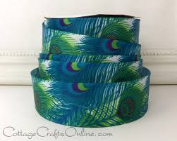 peacock ribbon wired ribbon 1 1 2 wide peacock feather blue green