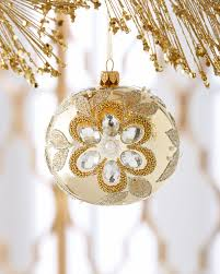 shiny gold embellished christmas ball ornament horchow holiday