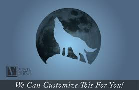 wolf howling at the moon wall decor vinyl decal silhouette
