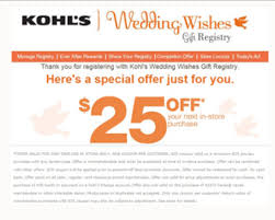 finding a wedding registry free 25 purchase at kohl s for creating a new wedding