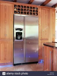 large american style stainless steel fridge freezer in fitted
