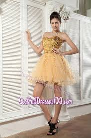best puffy gold short prom cocktail dresses with sequins