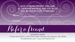 Purple Business Cards Girly Referral And Refer A Friend Business Cards Girly Business